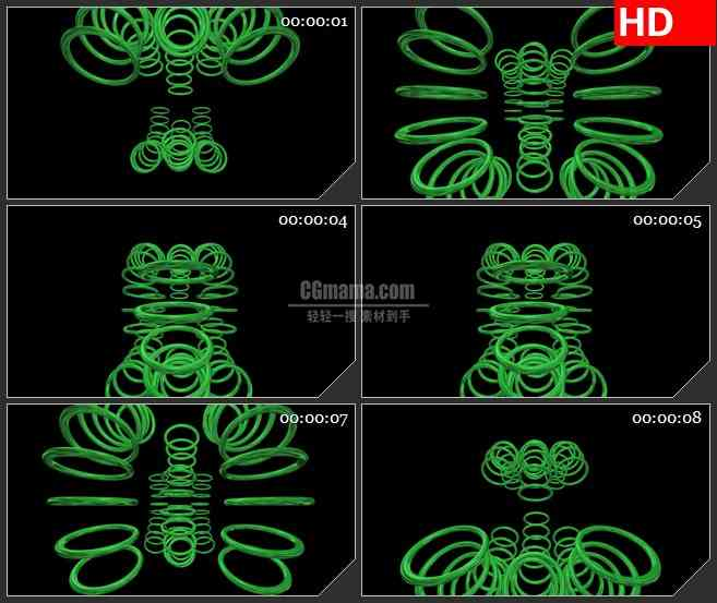 BG1884围绕绿色三维立体圆环黑色背景动态LED高清视频背景素材