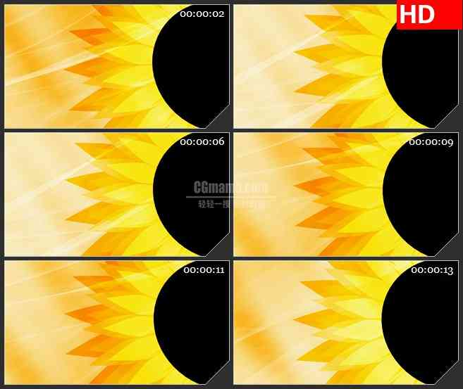 BG1888向日葵太阳花动态背景转动动态LED高清视频背景素材