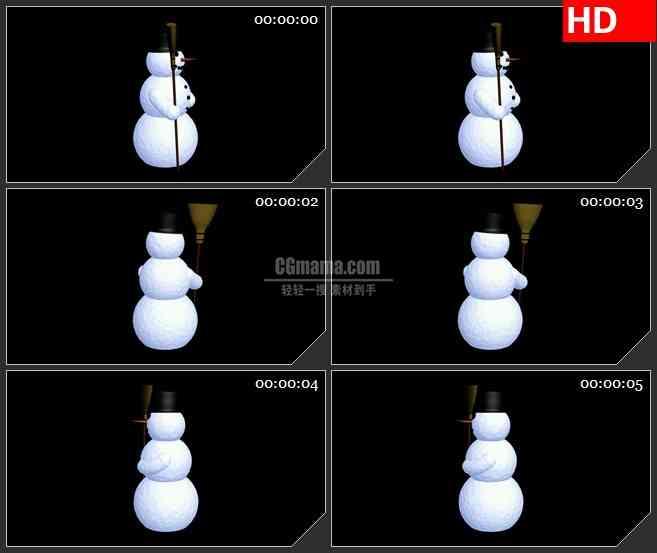 BG1889小雪人冬天卡通形像动态LED高清视频背景素材
