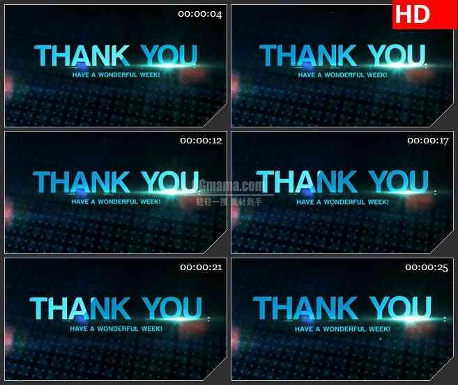 BG1890谢谢你有一个美好的一周蓝色科技感动态LED高清视频背景素材