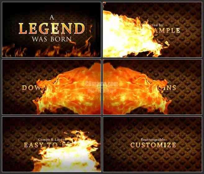 AE3051-火焰中的金属字 文本展示 电影简介宣传片