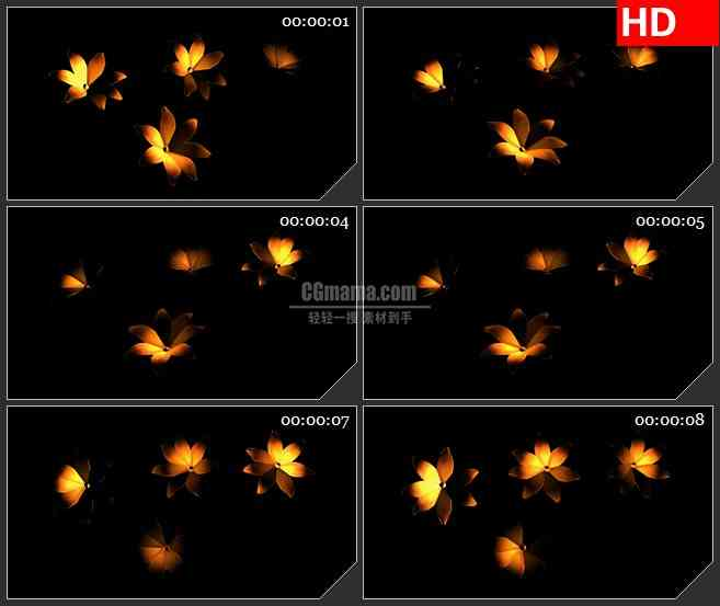 BG1823四朵黄色花旋转三维动画动态LED高清视频背景素材