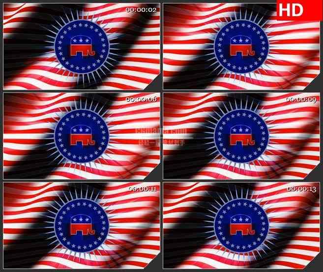 BG1923旋转的恒星象旗帜飘动动态LED高清视频背景素材