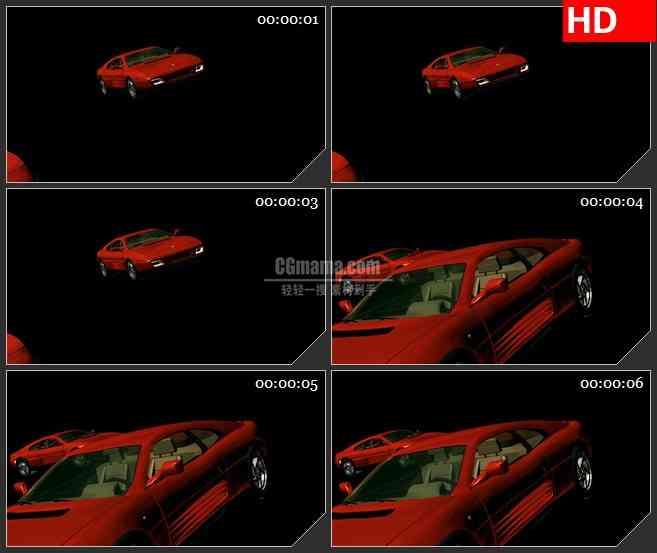 BG1929旋转的红色汽车高清特效合成视频素材