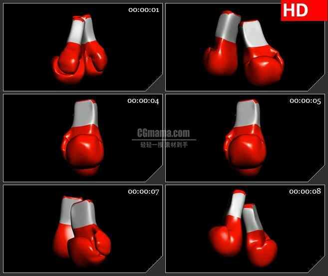 BG1930旋转的红色拳击手套高清特效透明合成视频素材