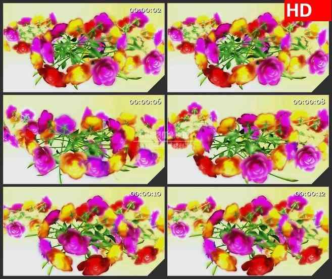 BG1954旋转的玫瑰花束婚庆浪漫婚礼高清led大屏视频背景素材