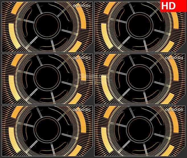 bg1978旋转黄色抽象齿轮光束动态led高清视频背景素材