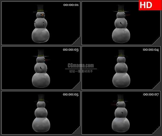 BG1990夜晚戴礼帽红鼻子小雪人三维动画转动动态LED高清视频背景素材
