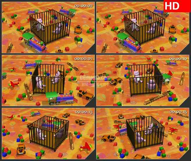 BG1998婴儿车玩具熊儿童卡通动画动态LED高清视频背景素材