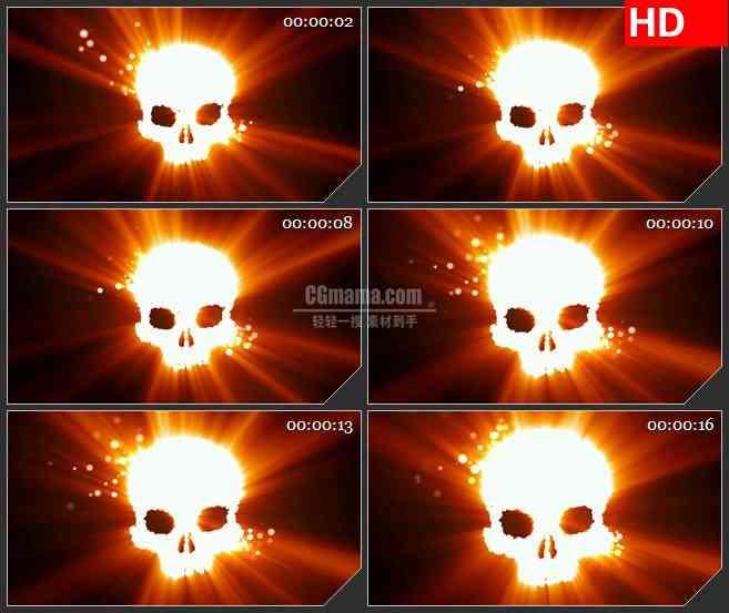 BG2000幽灵骷髅骨光线粒子飞出动态LED高清视频背景素材