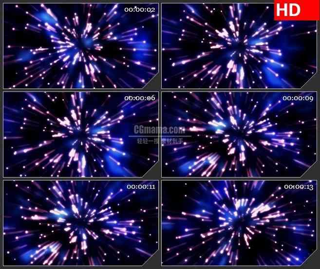 BG2015紫色星空粒子光束绽放飞出动态LED高清视频背景素材