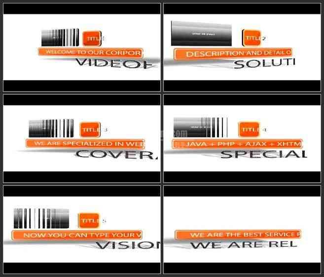 AE3183-橙色 快速翻转的标题栏 文本展示 企业推广