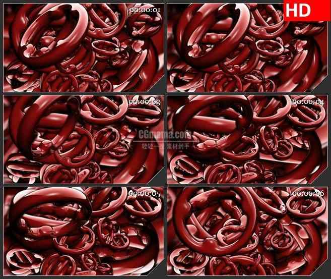 BG2022暗红色三维齿轮旋转动态LED高清视频背景素材