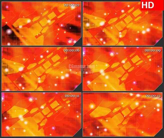 BG2041橙黄色立方体旋转波点动态背景动态LED高清视频背景素材