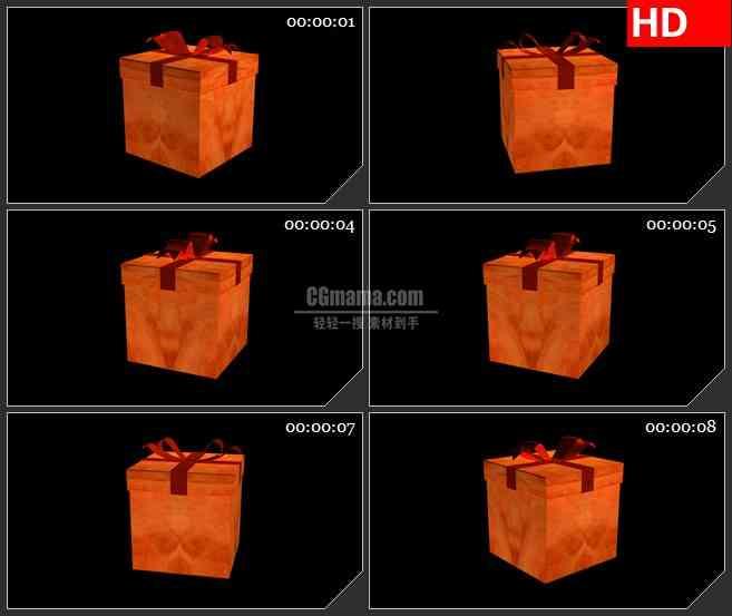 BG2047橙色三维动画礼物盒子旋转动态LED高清视频背景素材