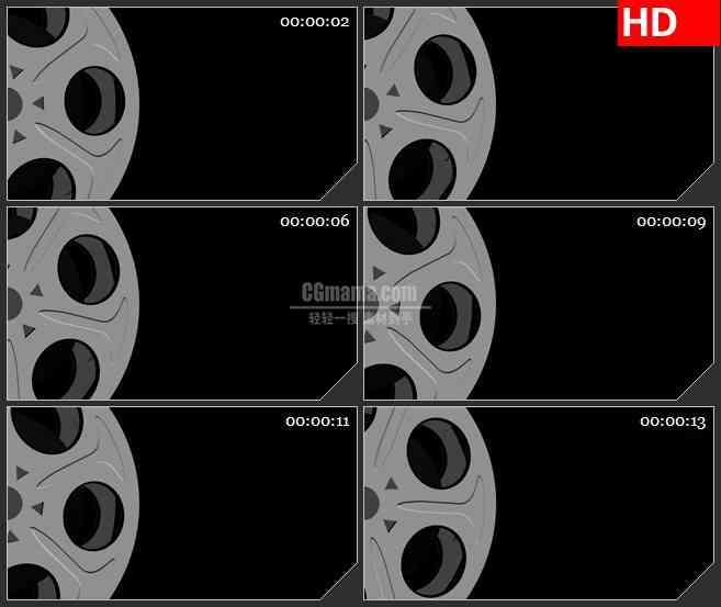 BG2061电影胶卷膜卷左侧旋转特写灰色背景动态LED高清视频背景素材