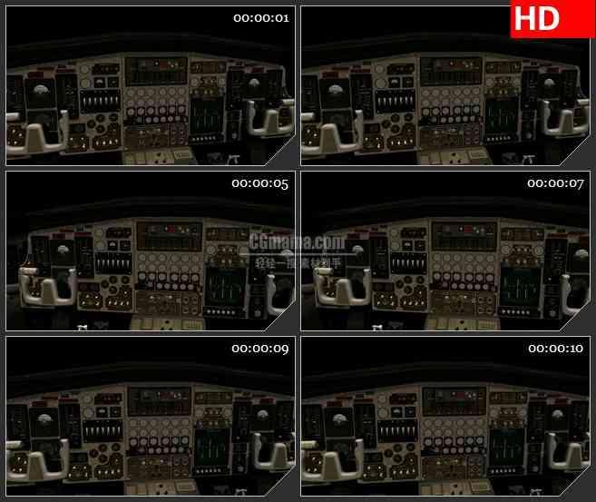 BG2064飞机机舱驾驶舱三维模型旋转动态LED高清视频背景素材