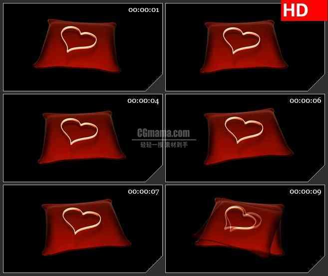 BG2077红色抱枕上的金色心形圆环黑色背景带透明通道动态LED高清背景素材
