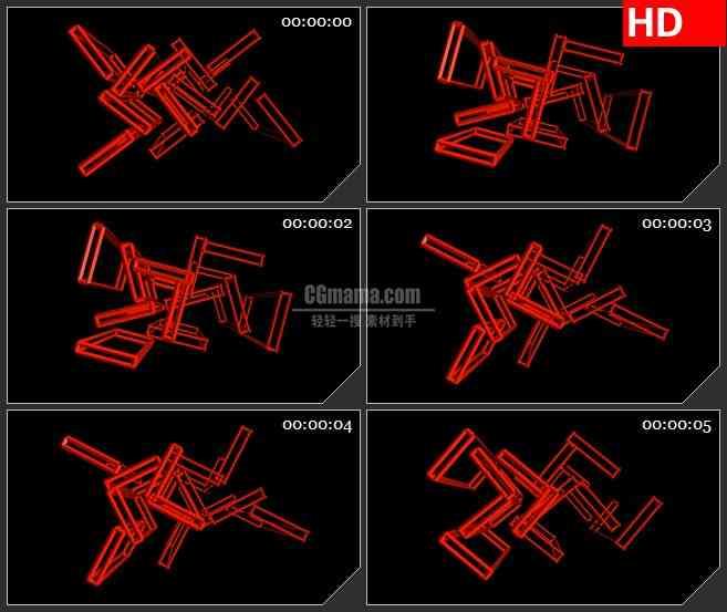 BG2078红色长方体框架立体结构黑色背景带透明通道交叉旋转动态LED高清视频背景素材