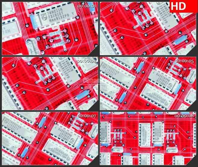 BG2081红色机器电路板旋转特写动态LED高清视频背景素材