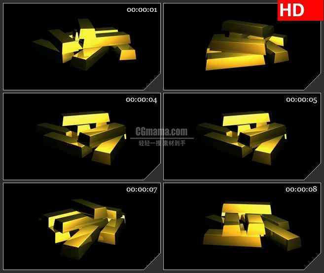 BG2084黄金金砖堆砌三维模型旋转黑色背景带透明通道动态LED高清视频背景素材
