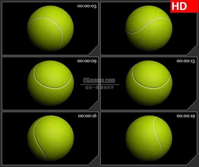 BG2087黄色网球特写三维模型旋转黑色背景带透明通道动态LED高清视频背景素材