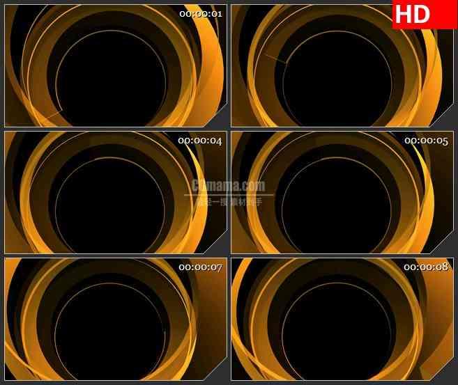 BG2088黄色圆环旋转光环黑色背景带透明通道动态LED高清视频背景素材