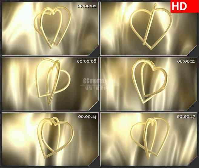 BG2100交叉金色金属心形圆环旋转金色背景浪漫婚礼动态LED高清视频背景素材