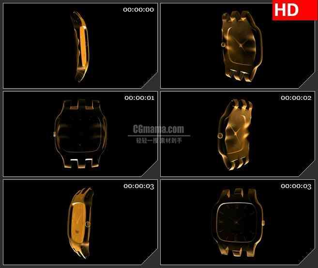BG2115金色半透明三维表盘模型黑色背景带透明通道动态LED高清背景素材