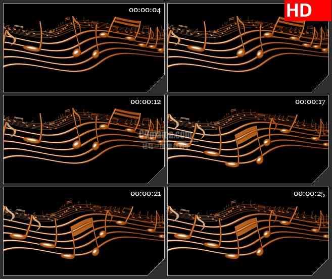 BG2116金色波动五线谱音符三维模型黑色背景带透明通道动态LED高清视频背景素材