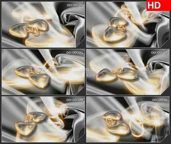 BG2128金色心形同心锁绸缎背景浪漫爱情动态LED高清视频背景素材