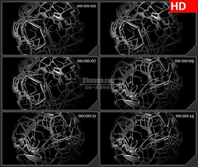 BG2137金属框架球科技未来旋转黑色背景带透明通道动态LED高清视频背景素材
