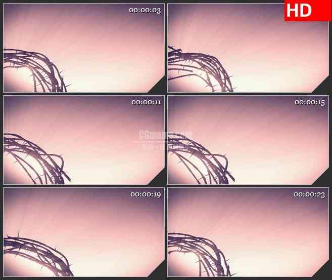 BG2140荆棘藤条旋转光芒粉色背景动态LED高清视频背景素材