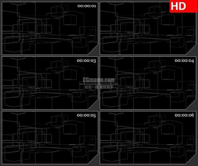 框架金属线条交叉旋转黑色背景带透明通道动态led高清视频背景素材