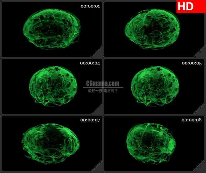 BG2166绿色半透明多孔棉细菌细胞透明通道动态LED高清视频背景素材.