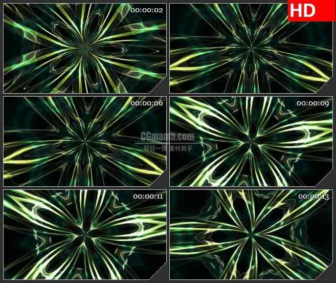 花朵绽放万花筒变换旋转黑色背景带透明通道动态led高清视频背景素材