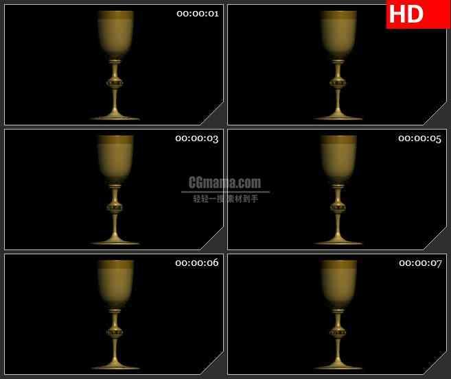 BG2178欧式复古金色酒杯模型旋转黑色背景带透明通道动态LED高清背景素材