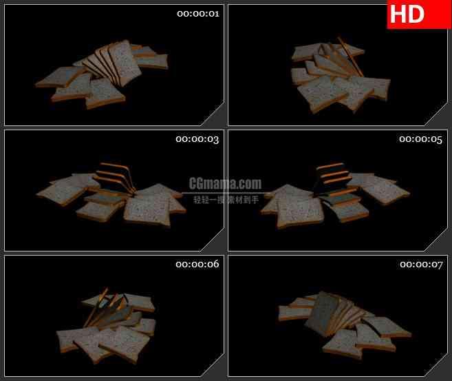 BG2182切片面包三维模型黑色背景动态LED高清视频背景素材