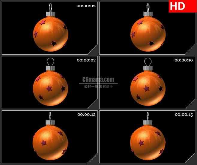 BG2194三维动画立体橙色星星圣诞节日彩球旋转动态LED高清视频背景素材