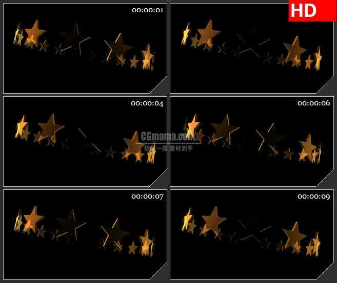 BG2199三维金色星星圆环旋转黑色背景带透明通道动态LED高清背景素材