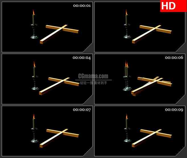 BG2210三维模型十字架烛台火焰燃烧黑色背景带透明通道动态LED高清视频背景素材.