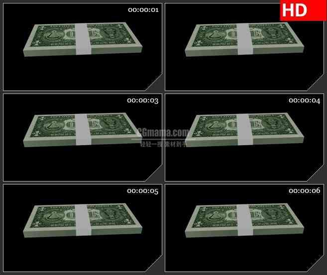 BG2213三维模型一打美元钱币黑色背景带透明通道动态LED高清视频背景素材