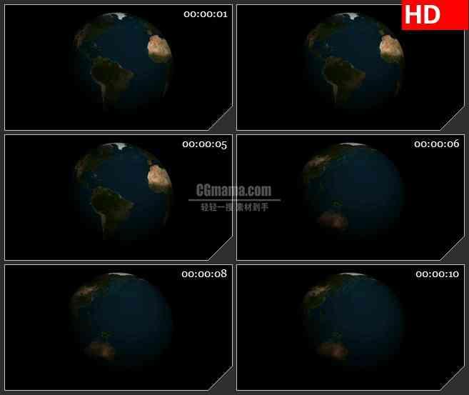 BG2214三维旋转世界版图球体黑色背景动态LED高清视频背景素材
