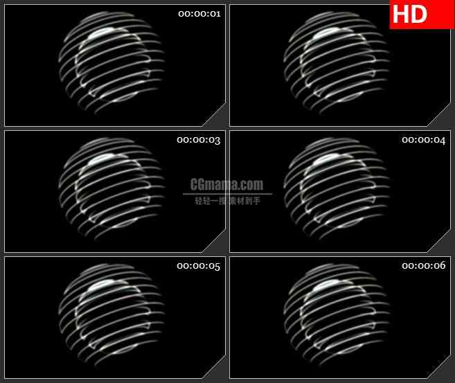 BG2222双层三维立体条纹光球黑色背景带透明通道动态LED高清视频背景素材.