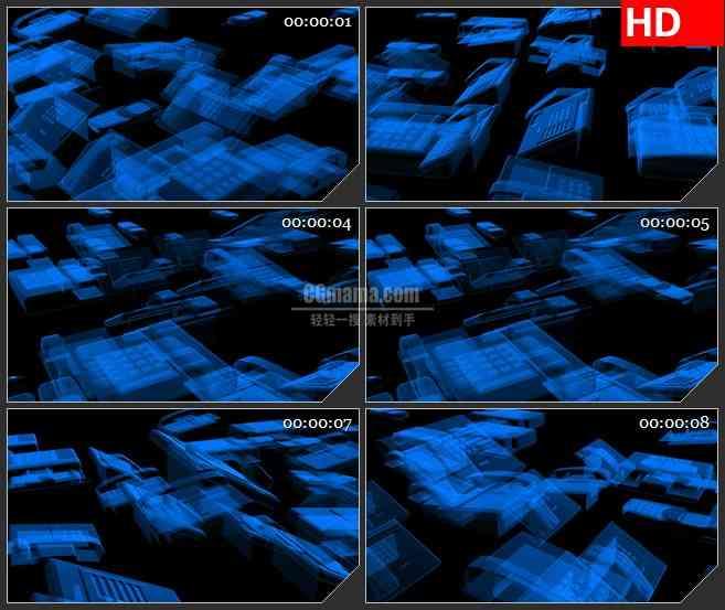 BG2228通信设备蓝色半透明电话机模型旋转动态LED高清视频背景素材