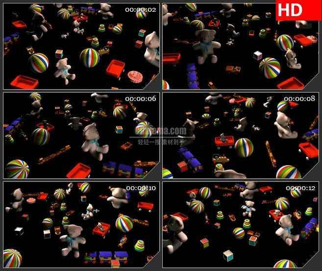 BG2229玩具积木泰迪熊黑色背景动态LED高清视频背景素材