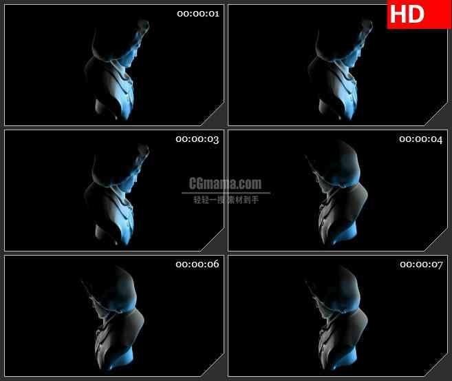 BG2234旋转淡蓝色半透明人物雕塑黑色背景带透明通道动态LED高清视频背景素材