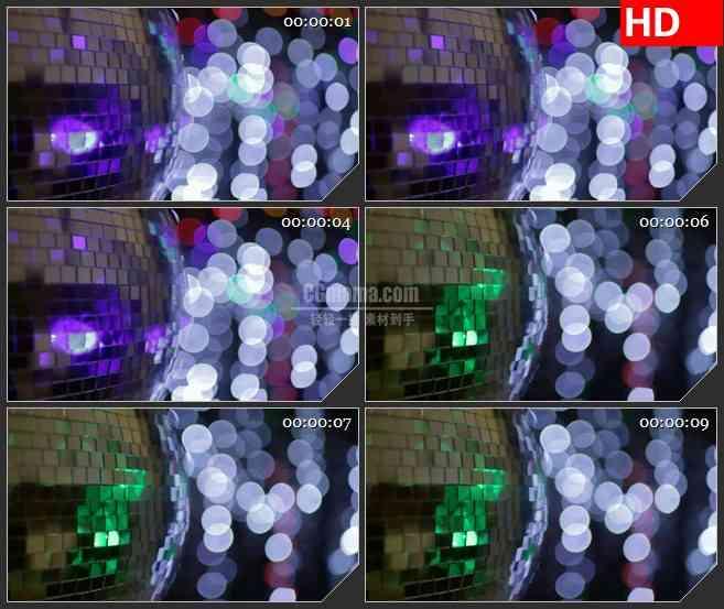 BG2240旋转的迪斯科LTV亮片球白色光斑动态LED高清视频背景素材