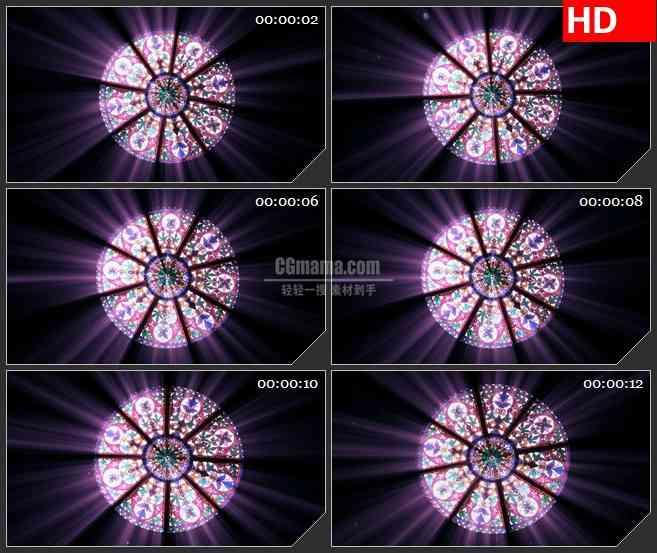 BG2247旋转的哥特式彩绘圆顶玻璃天花板动态LED高清视频背景素材