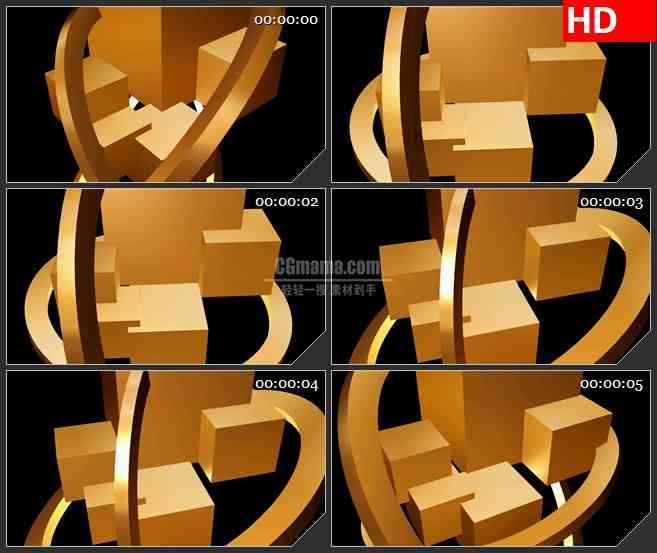 BG2254旋转的金黄色盒子和环梁旋转动态LED高清背景素材